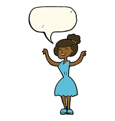 Cartoon woman with raised arms with speech bubble vector