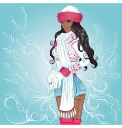Sexy winter african girl standing sideways vector