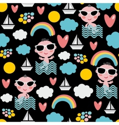 Baby boy on vacation seamless pattern vector
