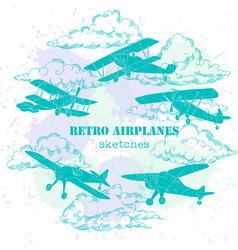 Background with retro airplanes and clouds vector