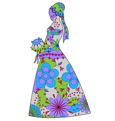 Bride silhouette colorful vector