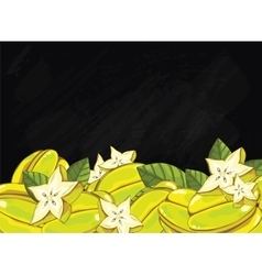 Carambola fruit composition on chalkboard vector