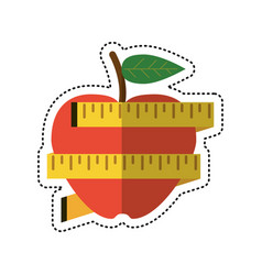 Cartoon apple measuring tape lose weight vector