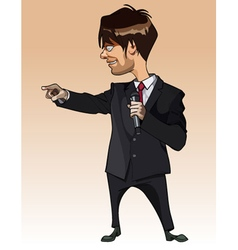 cartoon man in suit with microphone in hand vector image vector image