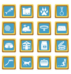 Cat care tools icons azure vector