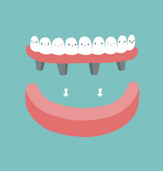 Dentures teeth and tooth concept of dental vector