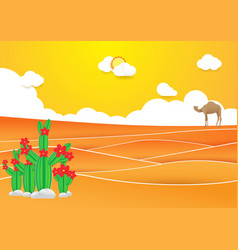 Desert landscape cactus and camel in desert vector