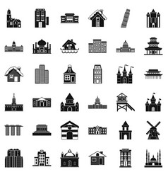 Different building icons set simple style vector