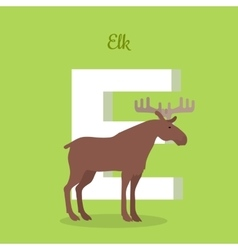 Elk with letter e isolated abc alphabet vector