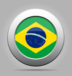 Flag of brazil shiny metal gray round button vector