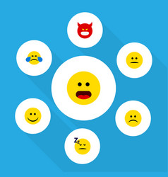 Flat icon gesture set of cold sweat displeased vector