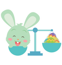 happy easter with bunny and egg vector image vector image