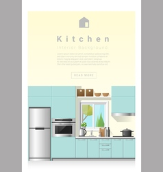 Interior design modern kitchen banner 6 vector