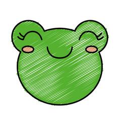 Kawaii frog icon vector