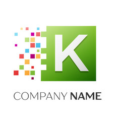 letter k symbol in the colorful square vector image vector image