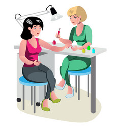 manicurist character makes a professional manicure vector image vector image