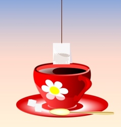 red cup of tea vector image