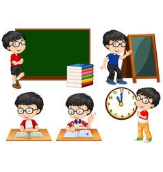 Schoolboy doing different actions at school vector