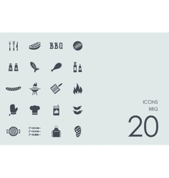 Set of bbq icons vector