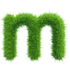 Small grass letter m on white background vector