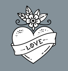 tattoo heart with flower and ribbonsymbol of love vector image