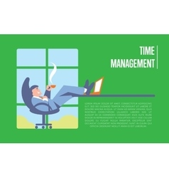 Time management banner with businessman vector image