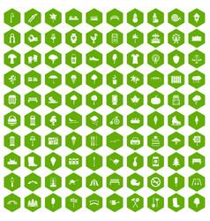 100 park icons hexagon green vector