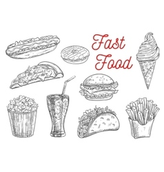 Fast food snacks and drinks icons sketch vector image