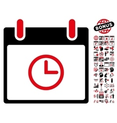Time calendar day flat icon with bonus vector