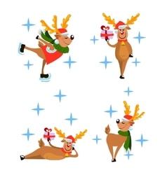 set of deers vector image