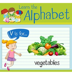 Flashcard letter V is for vegetables vector image