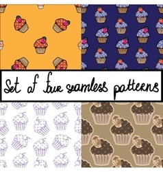Seamless background set with cupcakes vector