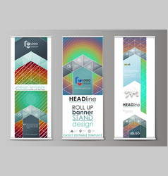 roll up banner stands abstract geometric style vector image