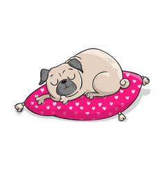 cute pug hand drawn cartoon vector image