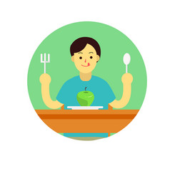 young man prepare to eat apple with spoon and vector image