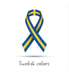 Modern colored ribbon with the swedish colors vector