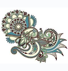 Hand draw line art ornate flower design vector