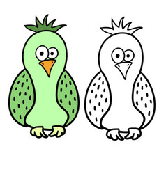 Cute cartoon bird for colouring vector