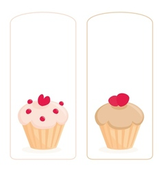 Cupcake on white invitation card vector image
