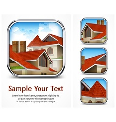 Icon set with red tile roof vector