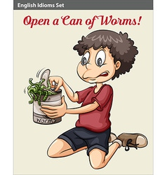 A boy opening a can of worms vector