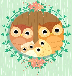 Owls family vector