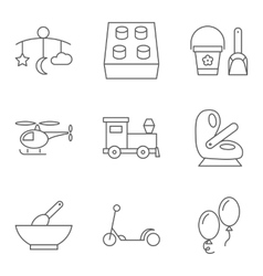 Baby thin line related icon set vector