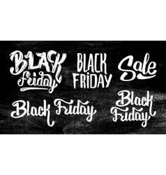Black friday sale stickers set on black chalkboard vector