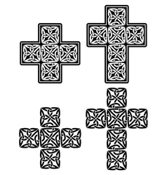 Celtic cross - set of traditional designs in black vector