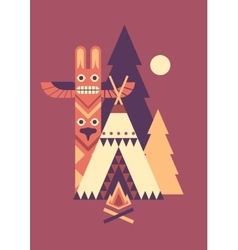 Indian totem and tent vector
