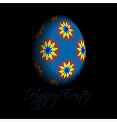 Greeting card - floral easter egg with text vector