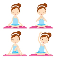 Girl doing yoga exercise vector
