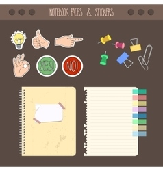 Set of pages notebook with stickers colored tape vector