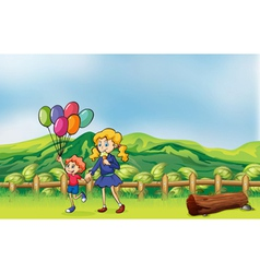 A happy child with balloons and a girl eating an vector image vector image